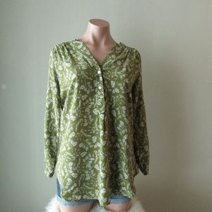 Amour Vert 100% Silk Green Leaf Print Blouse Small